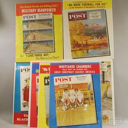 Seven 1950s Saturday Evening Post   Front Cover Posters and Two U.S. WWII   Lithograph Posters
