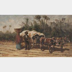 William Aiken Walker (American, 1839-1921)      Couple with Ox Cart