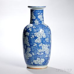 Blue and White Rouleau Vase