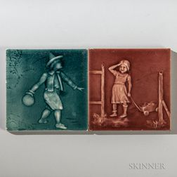 Two U.S. Encaustic Tile Co. Art Pottery Tiles