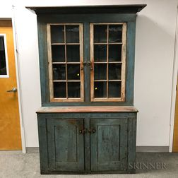 Large Country Blue-painted and Glazed Step-back Cupboard
