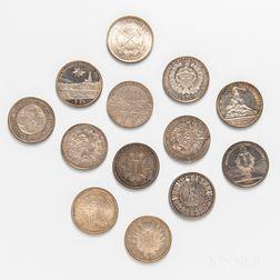 Thirteen Swiss 5 Franc Shooting Thalers