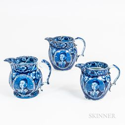 "Three Staffordshire Historical Blue Transfer-decorated ""Welcome Lafayette the Nation's Guest"" Jugs"
