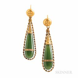 Antique Gold and Nephrite Jade Earrings