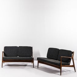Two Ib Kofod-Larsen (Danish, 1921-2003) for Selig Spear Love Seats