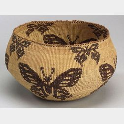 Northern California Twined Pictorial Basketry Bowl
