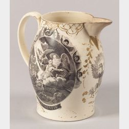 Transfer-Decorated Liverpool Creamware Pitcher