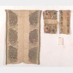 Three Ottoman Silk and  Metal Thread Textile Fragments