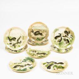 Nine Majolica Bunny Plates
