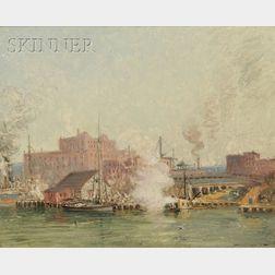 Frederick Mortimer Lamb (American, 1861-1936)      South Boston, Stone Wharf...