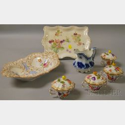 Seven Pieces of Assorted European Decorated Porcelain and Ceramic Tableware