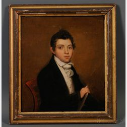 Attributed to Joseph Wood (American, 1778-1852)      Portrait of a Young Man with a Book,  c. 1820.