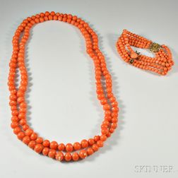 Coral Bead Necklace and Four-strand Coral Bead Bracelet