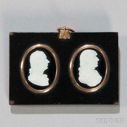 Two William Tassie Glass Paste Portrait Medallions