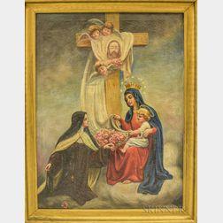 Joseph Malachy Kavanagh (Irish, 1856-1918)      Madonna and Child with Nun and Roses