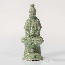 Crackled Celadon-glazed Figure of Guanyin