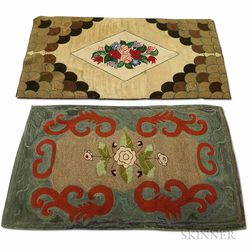Two Large Floral Hooked Rugs