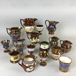 Sixteen Copper Lustre Ceramic Vessels.     Estimate $20-200