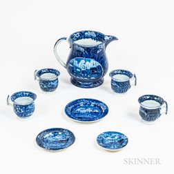 "Eight Staffordshire Historical Blue Transfer-decorated ""Landing of Lafayette"" Table Items"