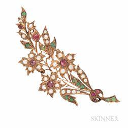 Antique Gold Gem-set Flower Brooch