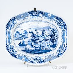Large Ridgway Blue and White Platter
