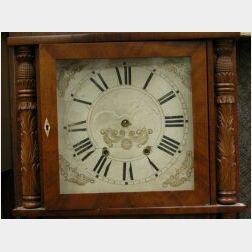 Classical Carved Mahogany and Mahogany Veneer Triple Shelf Clock, labeled Elisha Hotchkiss Jr., flat overhanging cornice above glazed c