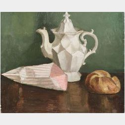Edmund Quincy (American, 1903-1997)  Still Life with Teapot and Bread