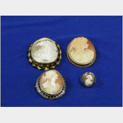 Three Carved Shell Cameo Brooches and a Ring.
