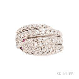 18kt White Gold and Diamond Snake Ring