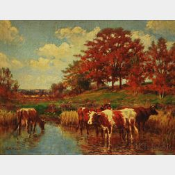 George Arthur Hays (American, 1854-1945)      Cows Watering in an Autumn Landscape