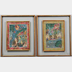 Two Buddhist Paintings of Illustrated Tales
