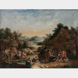 Dutch School, 17th Century Style      Figures Outside a Country Tavern