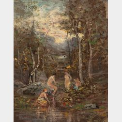 Franco-American School, 19th Century      Bathers by a Stream