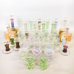 Thirty-eight Cowdy Glass Workshop Candleholders