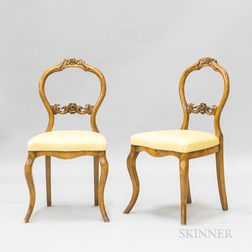 Pair of Rococo Revival-style Carved Fruitwood Side Chairs