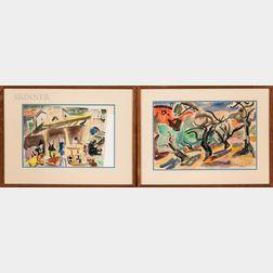 Shimshon Holzman (Israeli, 1907-1986)      Two Framed Watercolor Landscapes:  Trees