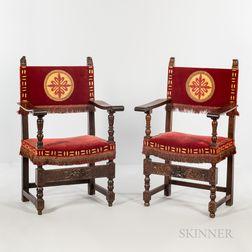 Near Pair of Italian Walnut Upholstered Armchairs