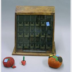Boye Sewing Needles Retail Counter Display Case and Three Cloth Pincushions.