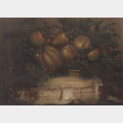 Kinsley C. Gladding (Providence, Rhode Island, 1802 - 1866)    Still Life with Basket of Fruit.