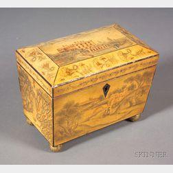 Hand-decorated Regency Fruitwood Tea Caddy