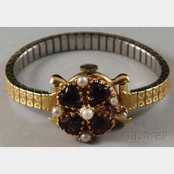14kt Gold Gem-set Wristwatch, Lucien Piccard