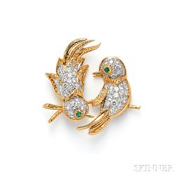 Emerald and Diamond Lovebird Brooch, Cartier