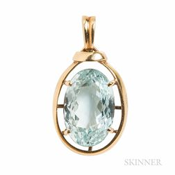 18kt Gold and Aquamarine Pendant