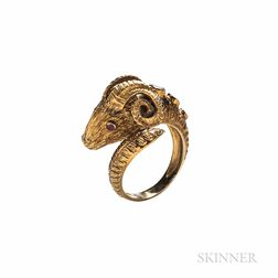 18kt Gold Gem-set Ram's Head Ring