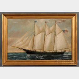 William P. Stubbs (American, 1942-1909) Portrait of the Three-masted Schooner BESSIE ROSE with Distant Lighthouse. DSigned [W] P ...