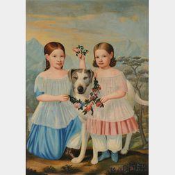 American School, 19th Century      Portrait of Sally Mathilda and Mary Elizabeth Everett and Their Dog,