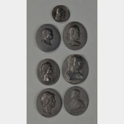 Seven Wedgwood Black Basalt Portrait Medallions