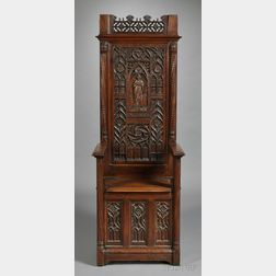 French Gothic Revival Carved Walnut Choir Stall Chair