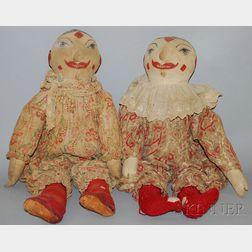 Two Cloth Clown Dolls