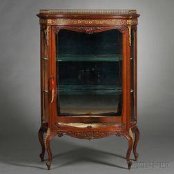 Louis XV/XVI-style Mahogany, Parcel-gilt, and Brass-mounted Vitrine Cabinet